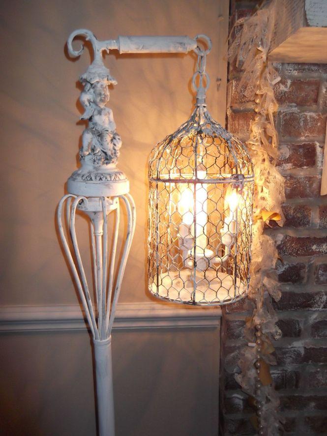 Bird Cage Chandelier Floor Lamp Vintage Light Shabby Chic Cherub Nostalgic French