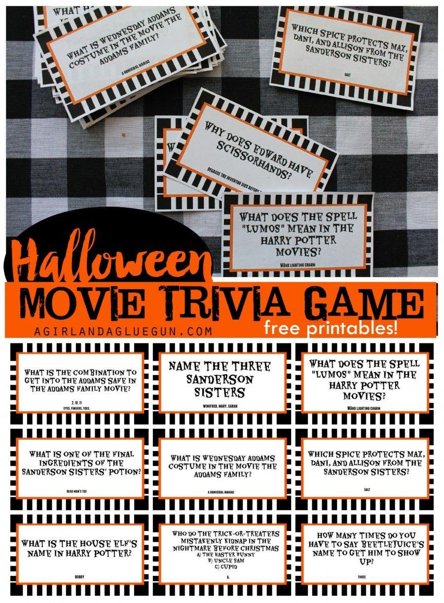 Halloween trivia game with free printableskids version