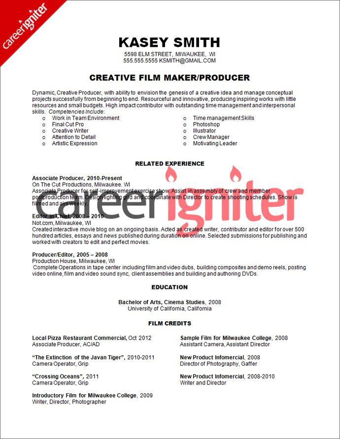 Film Producer Resume Sample Resume Pinterest Resume