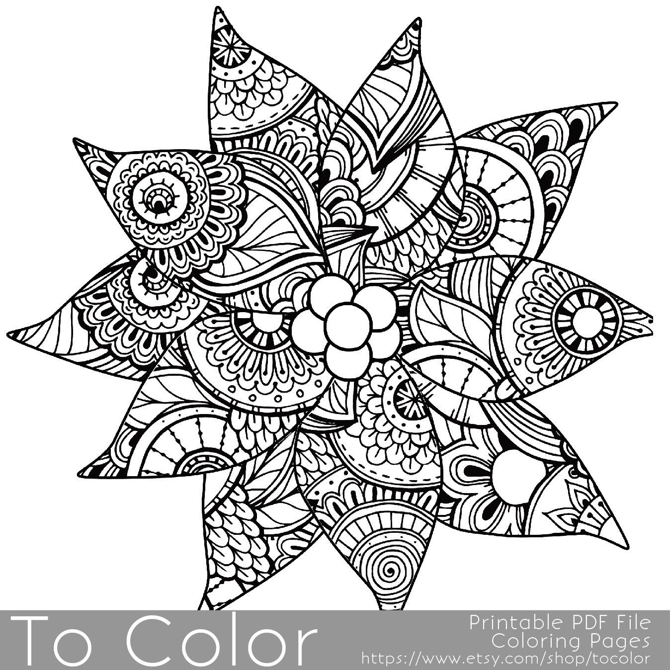 Christmas Coloring Page for Adults Poinsettia Coloring