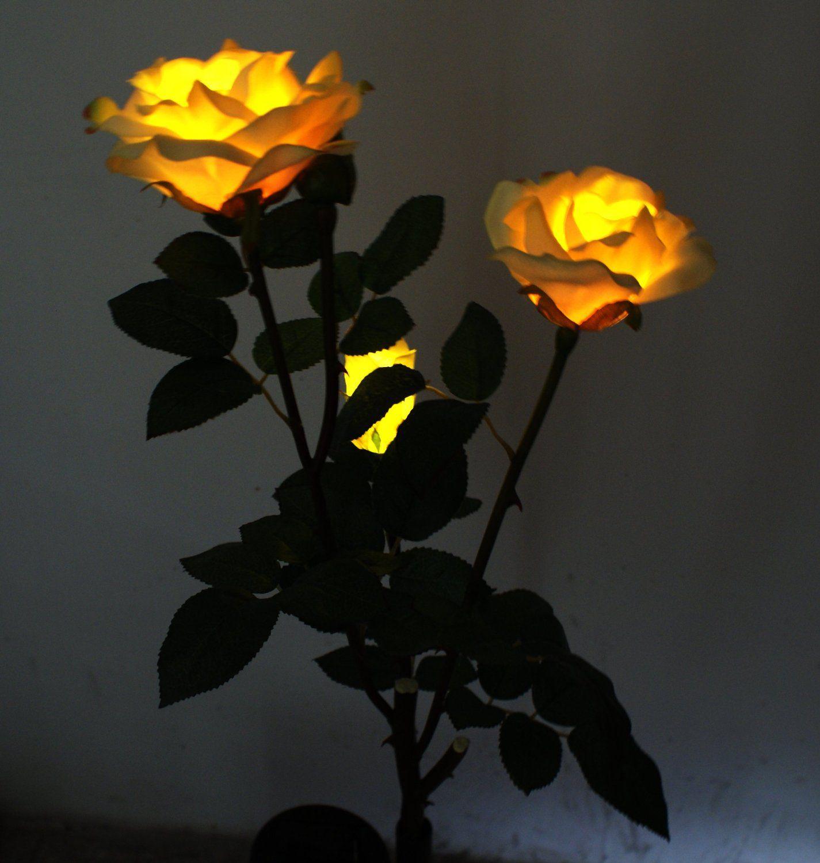 Solar Yellow Rose Flower Lights, Solar