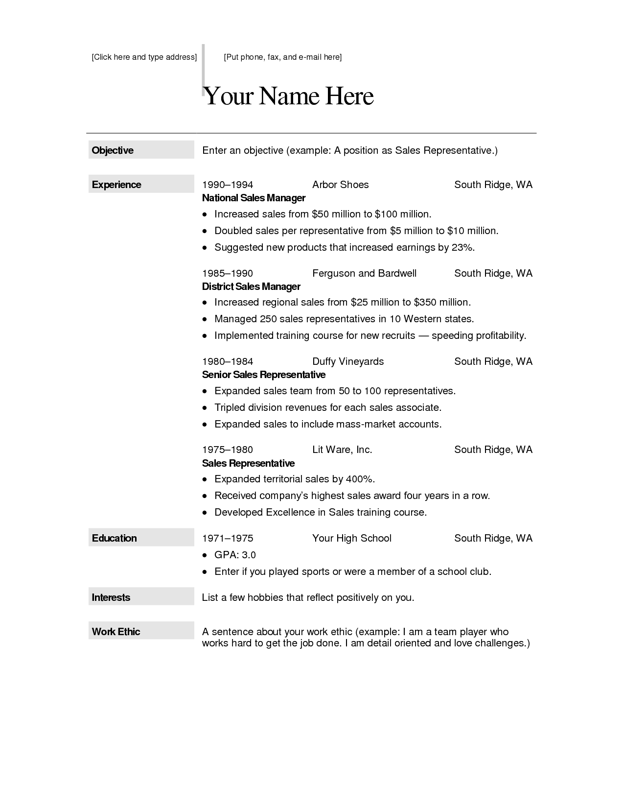free resume templates combination template word hybrid - Totally Free Resume Template