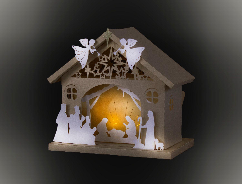 3D Nativity Barn template by MySVGHUT on Etsy Ideias
