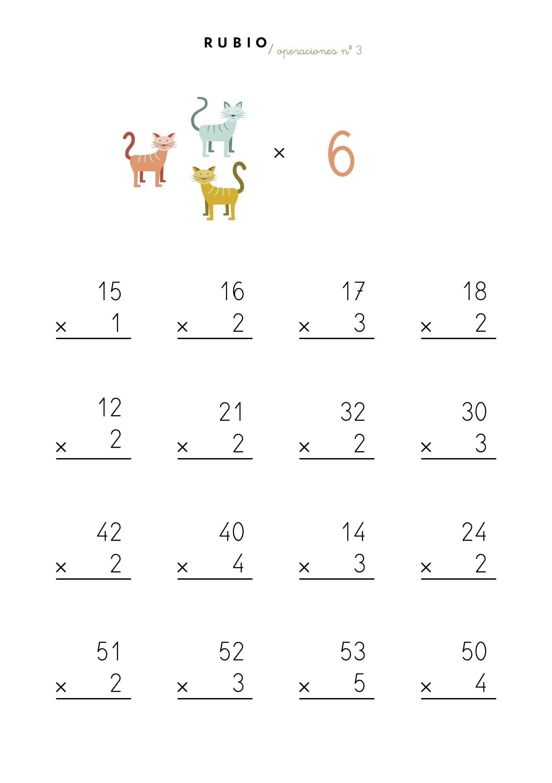 Ficha Multiplicaciones Por Una Cifra Multiplicar Primaria