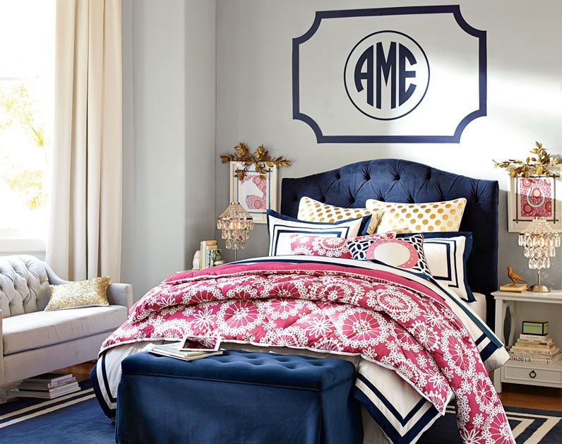 Love The Navy And Pink Together Teenage Girl Bedroom