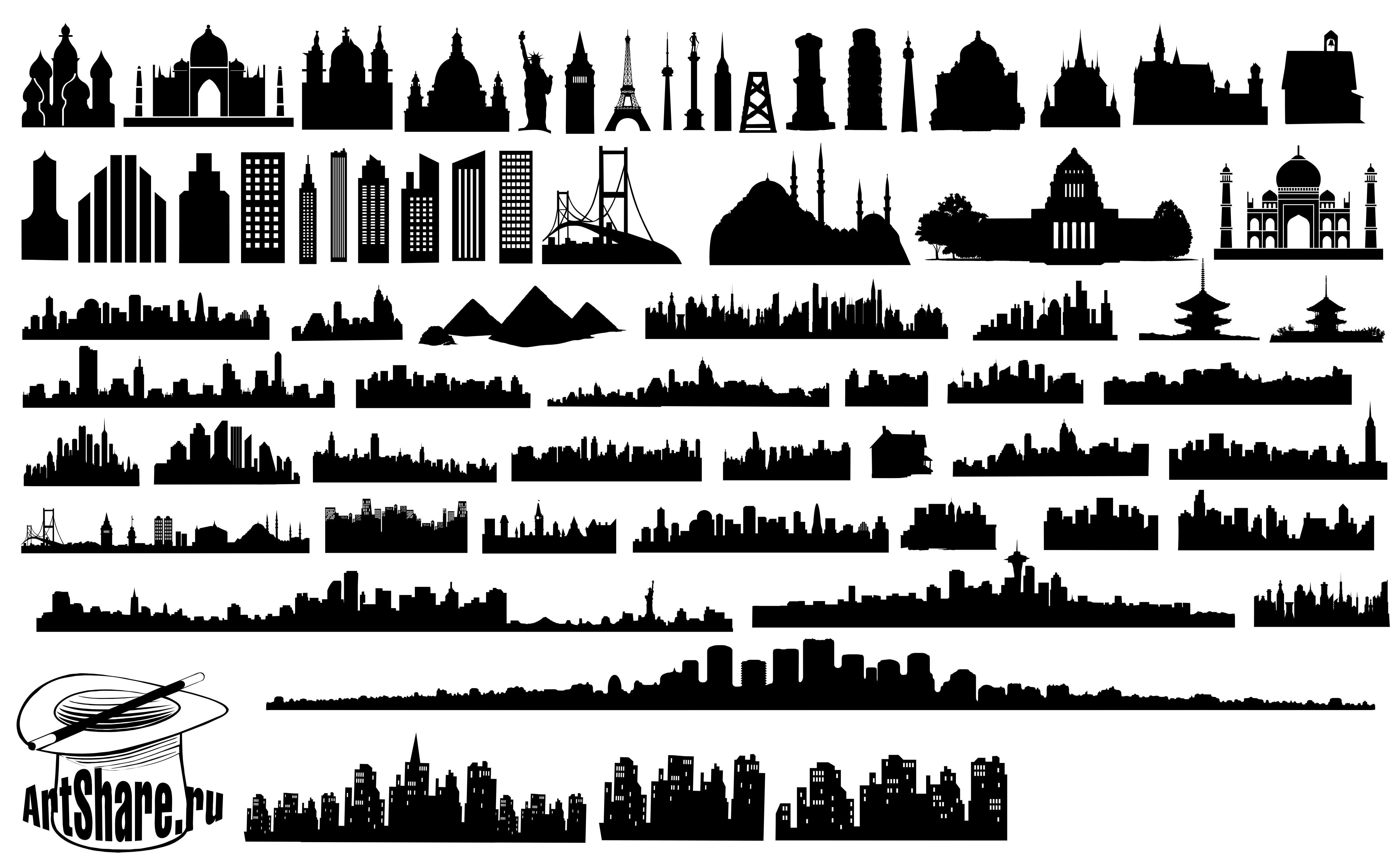 50 Cityscape Silhouettes Silhouettes Vector Pinterest