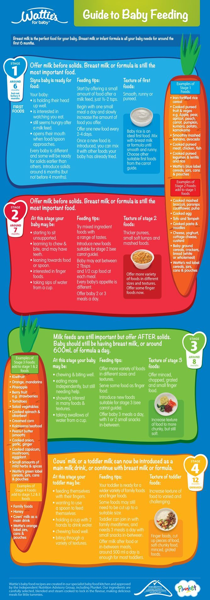 Wattie's Guide to Baby Feeding Monthly Food Chart for