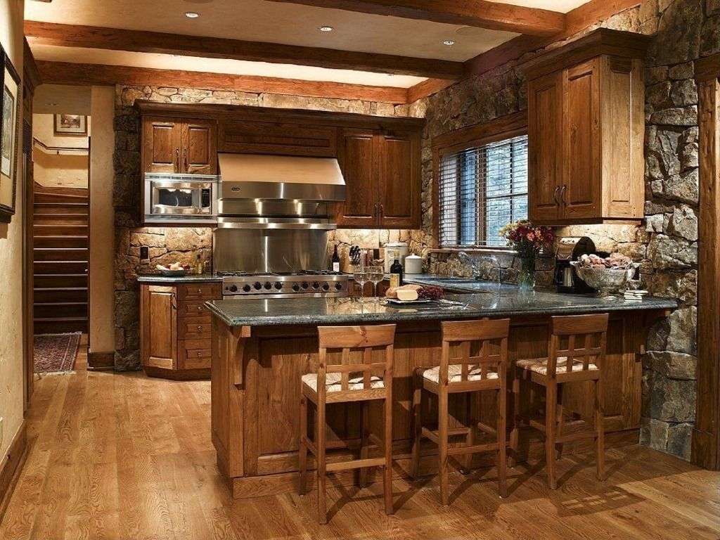 Hardwood, Breakfast Bar, Exposed Beams, Peninsula, Rustic