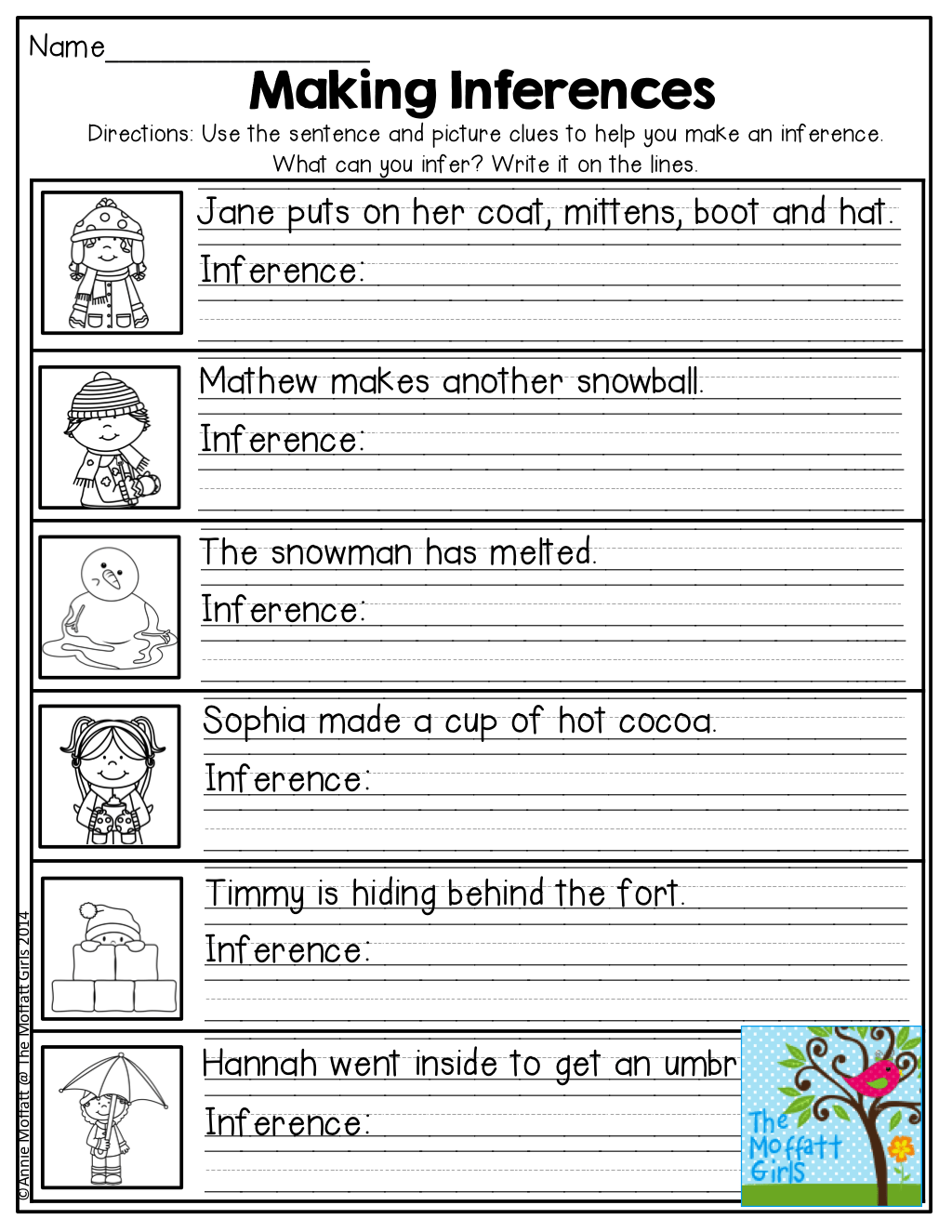 Worksheets Inference Worksheets 3rd Grade Waytoohuman Free