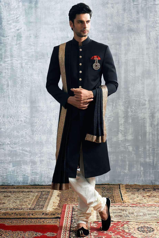 Manyavar Royal Black Sherwani Nikhil Pinterest Sherwani
