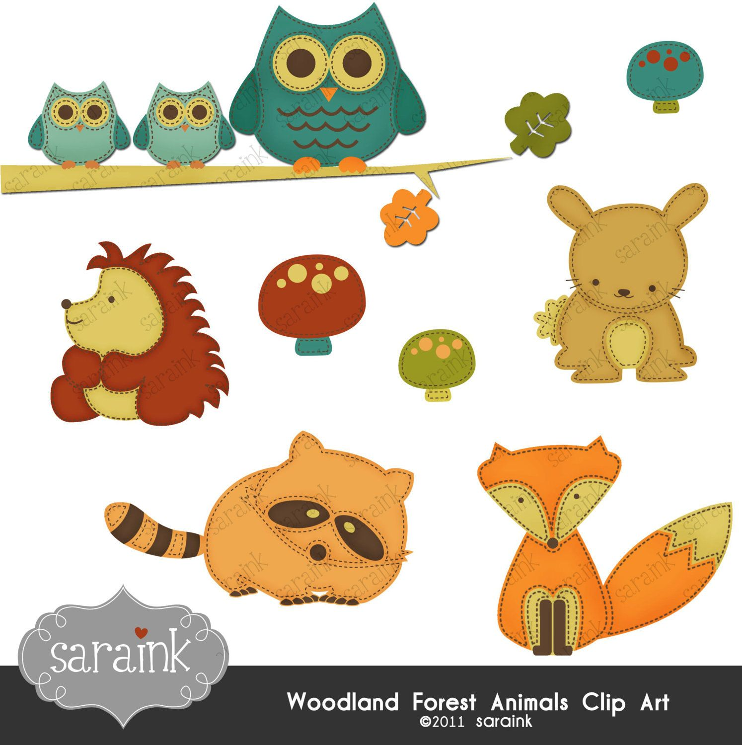 Woodland Forest Animals Clipart Download Cute digital