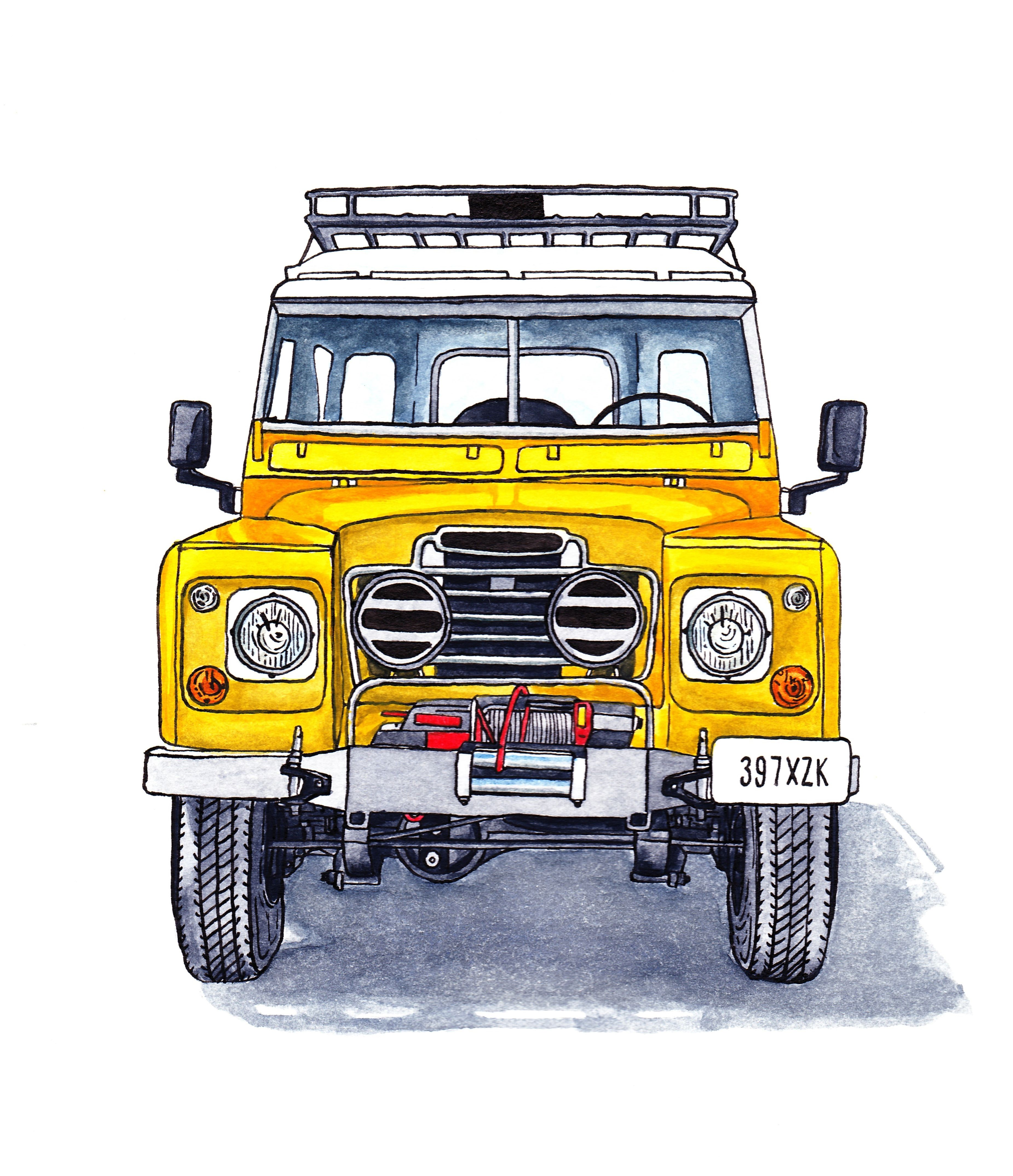 Land Rover Series III Ink and Watercolour Illustration