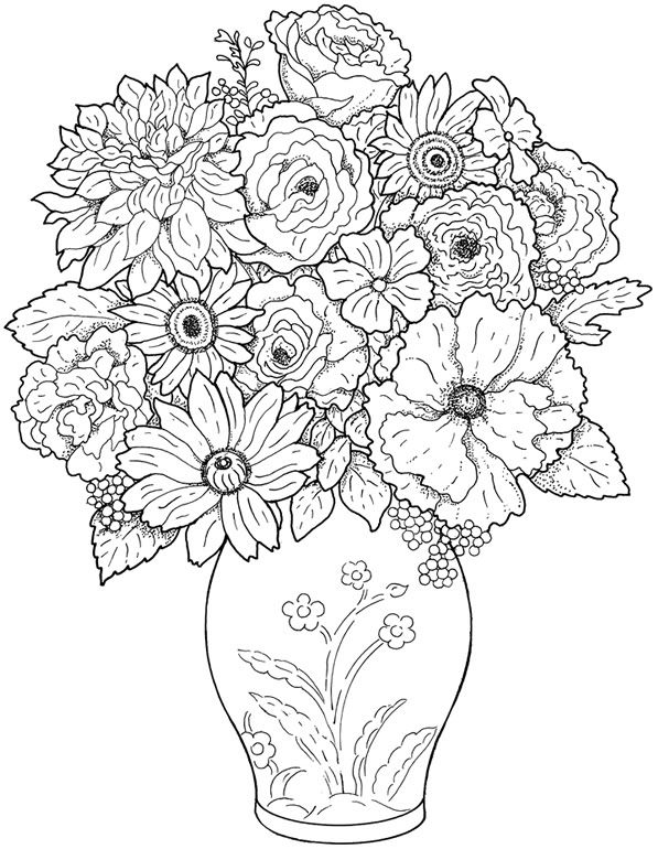 detailed flower coloring pages druntk