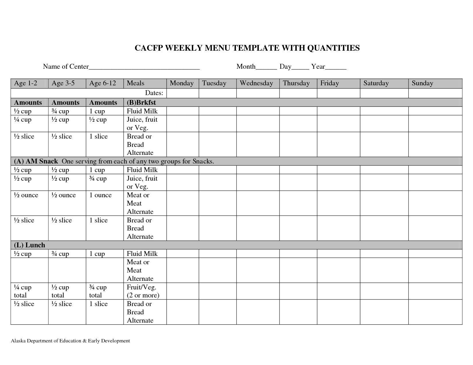 Cycle Menu Template Cacfp Weekly Menu Planning