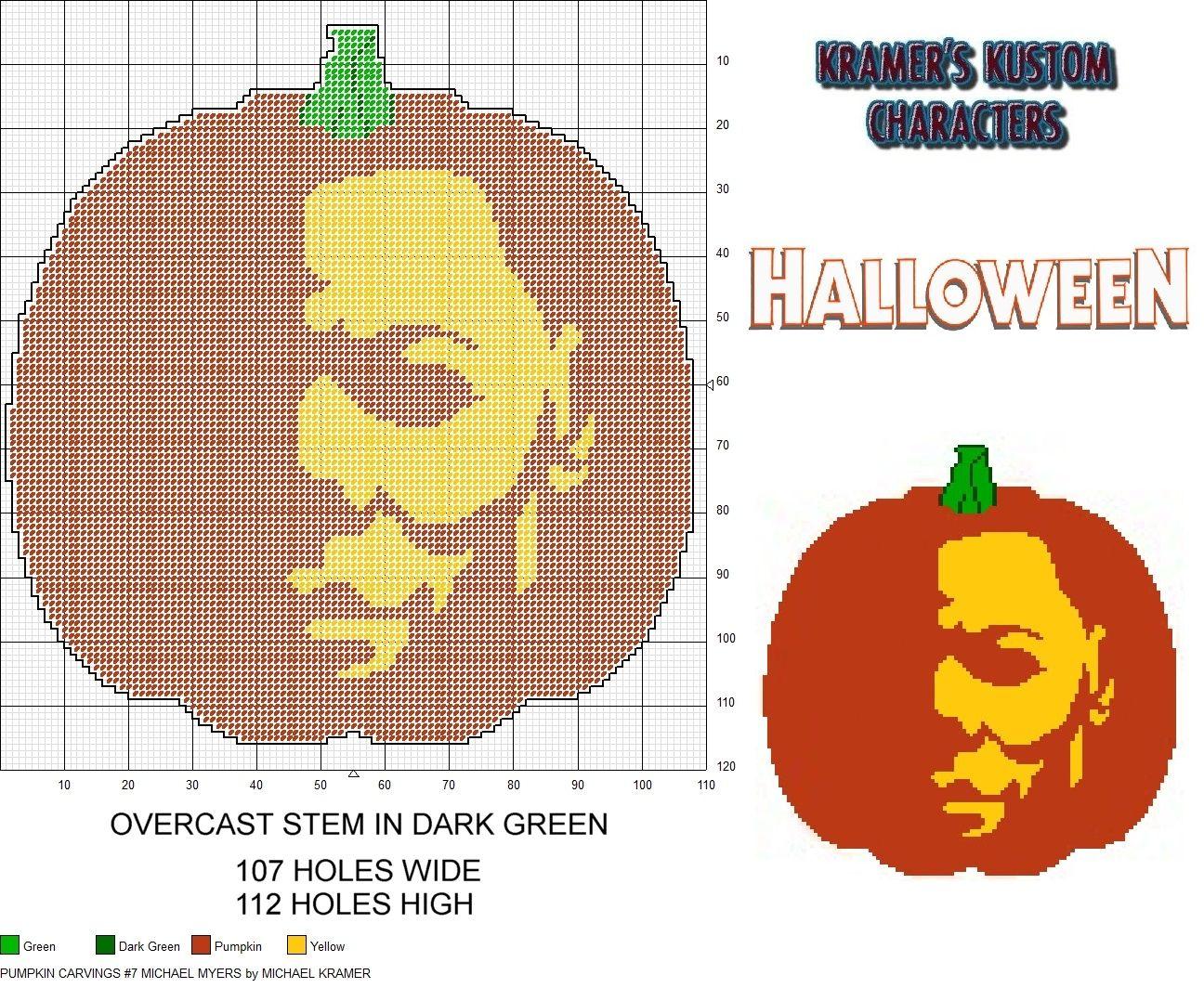 Pumpkin Carvings 7 Michael Myers plastic canvas pattern
