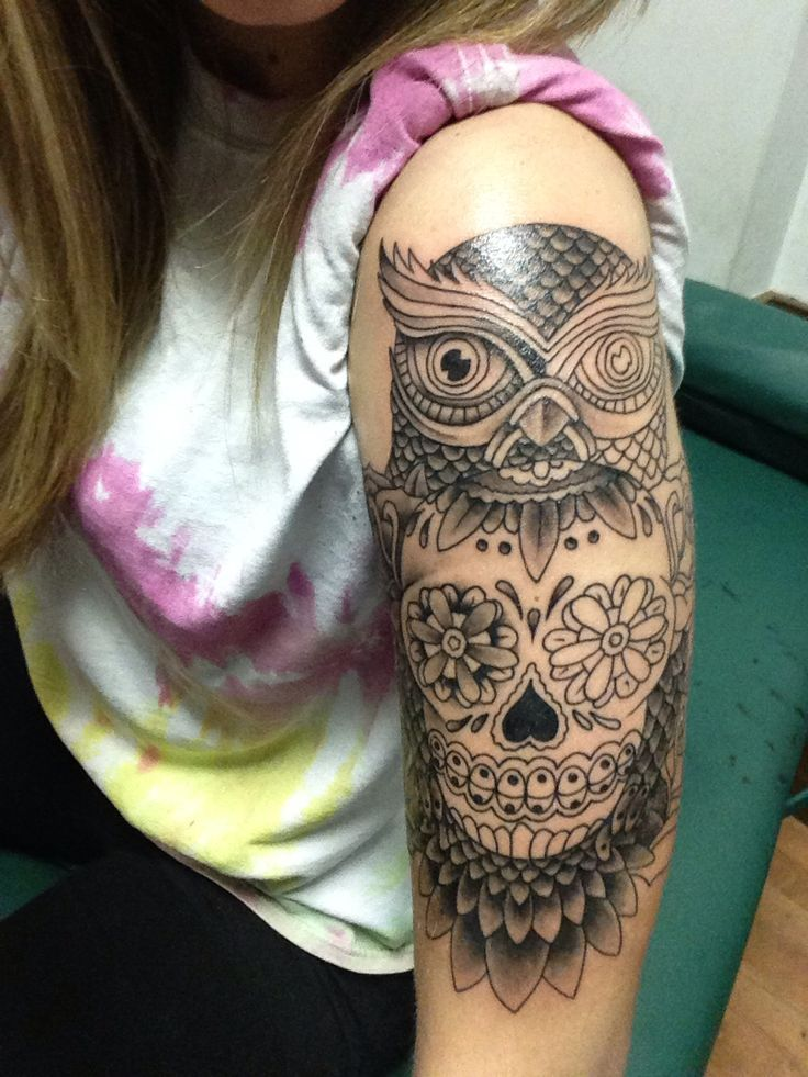 Almost finished owl and sugar skull half sleeve! Tattoo