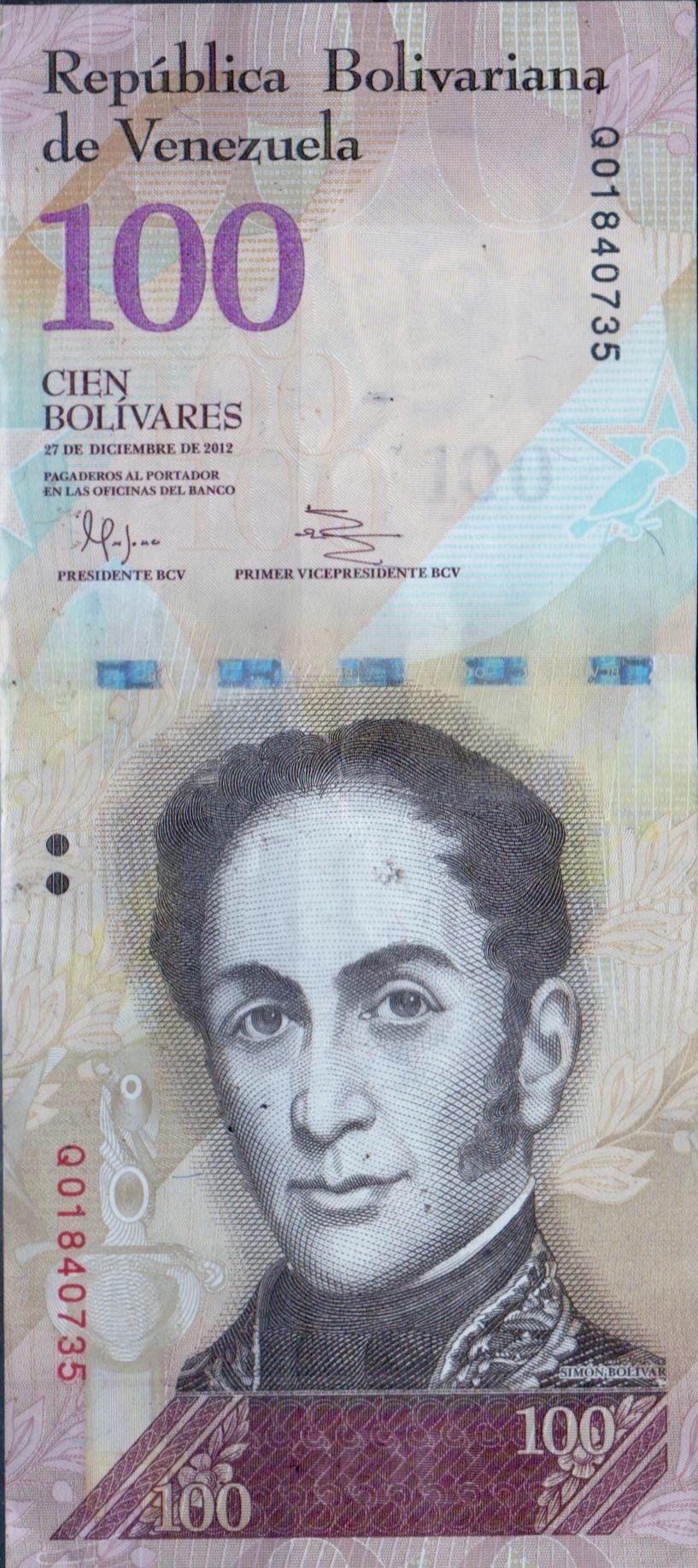 Venezuel B Nk E 100 Boliv Res December 27 2012 Sim