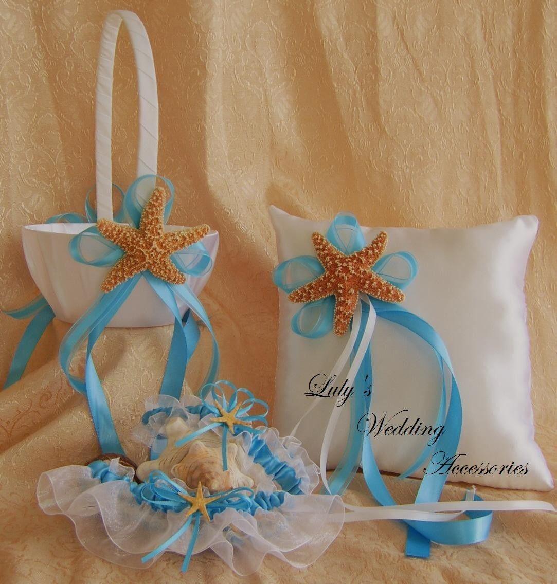 Beach Wedding, Flower Girl Basket and Ring Bearer Pillow