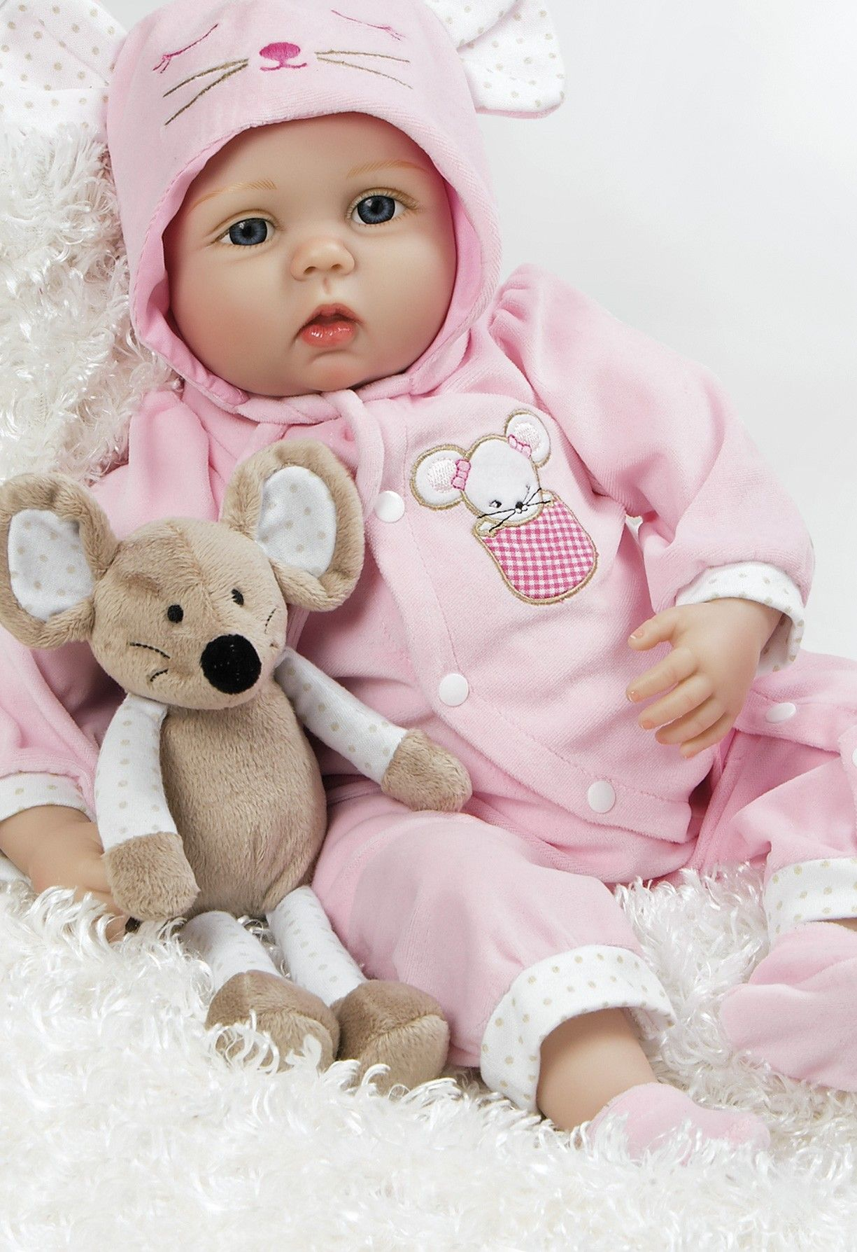 Baby Doll that Looks Real, Mia Mouse, 21 inch Silicone