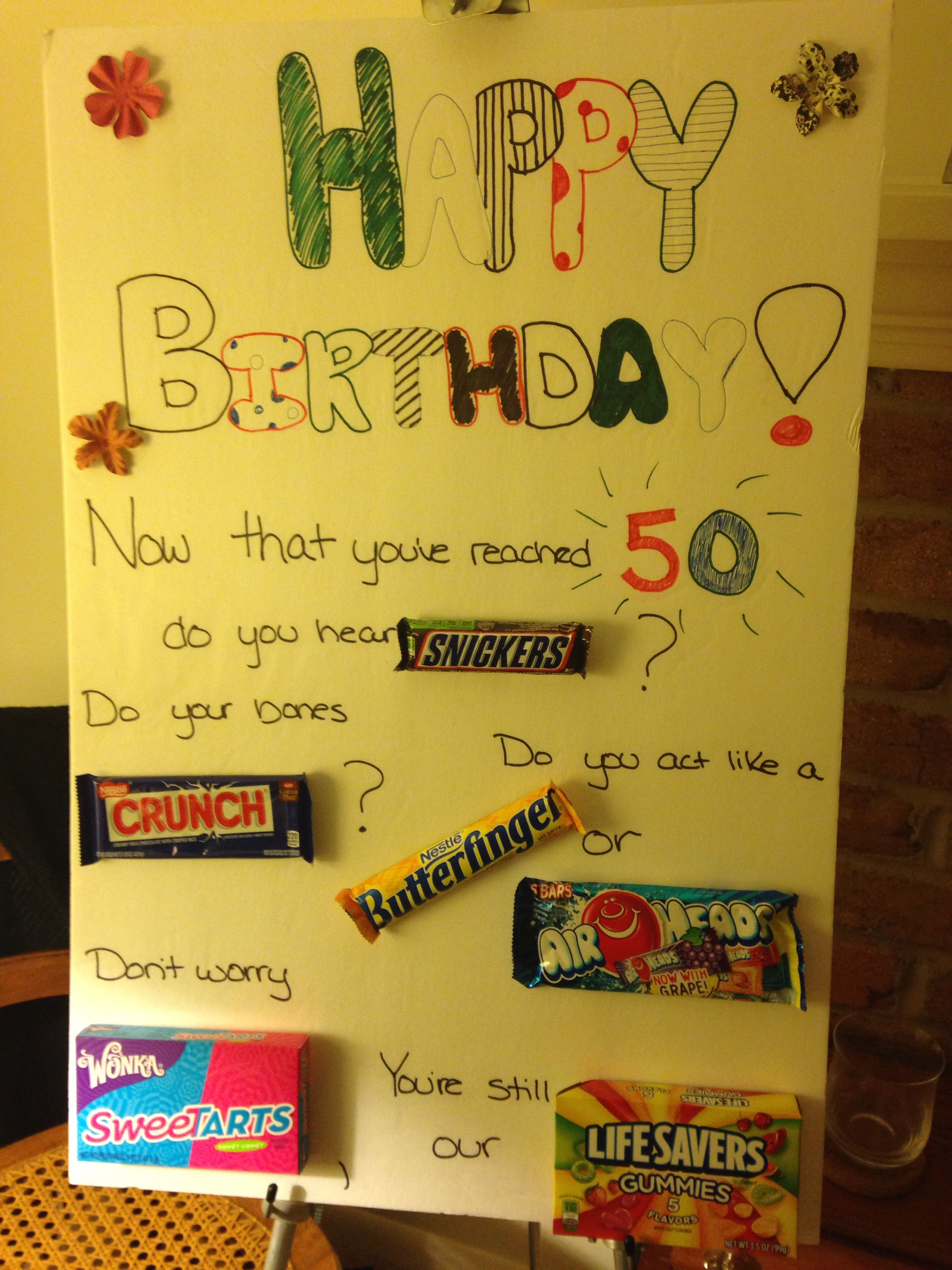 Homemade poster for mom's 50th birthday party!! Gifts