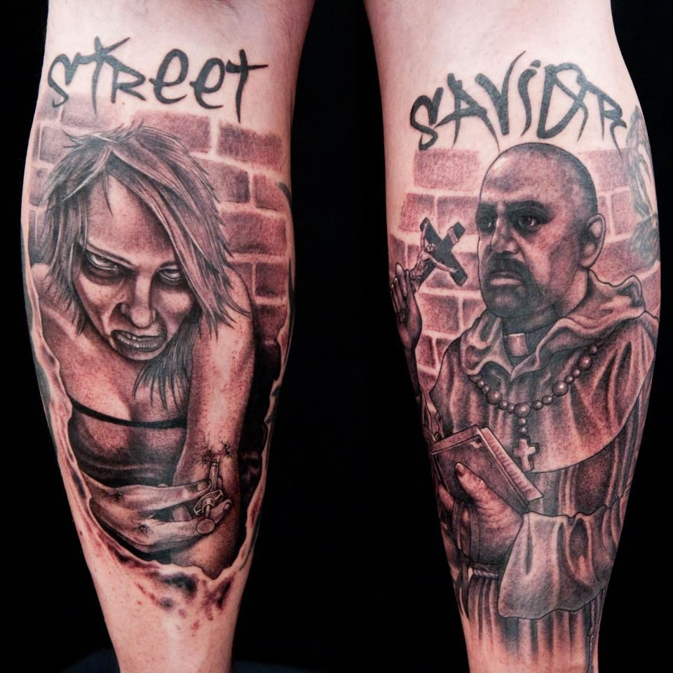 A tattoo from Ink Master that two artists did on a PRIEST