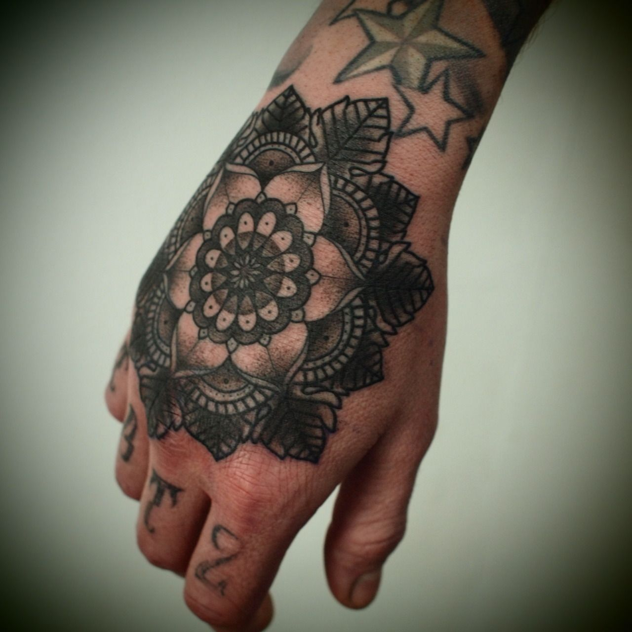 Geometric Flower Hand Tattoo, originally pinned by Lynnz