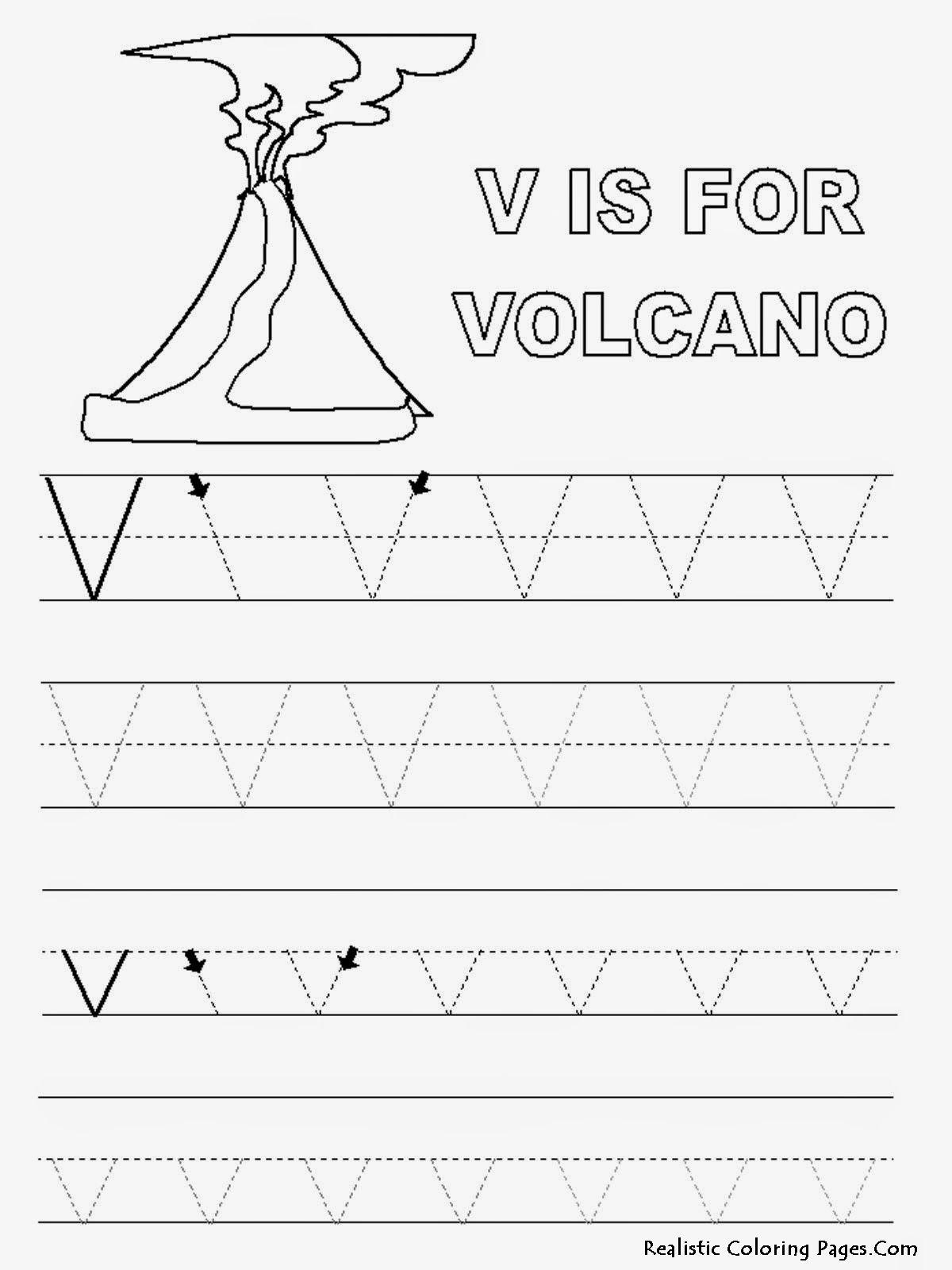 Alphabet Tracer Pages V Volcano Image Pixels