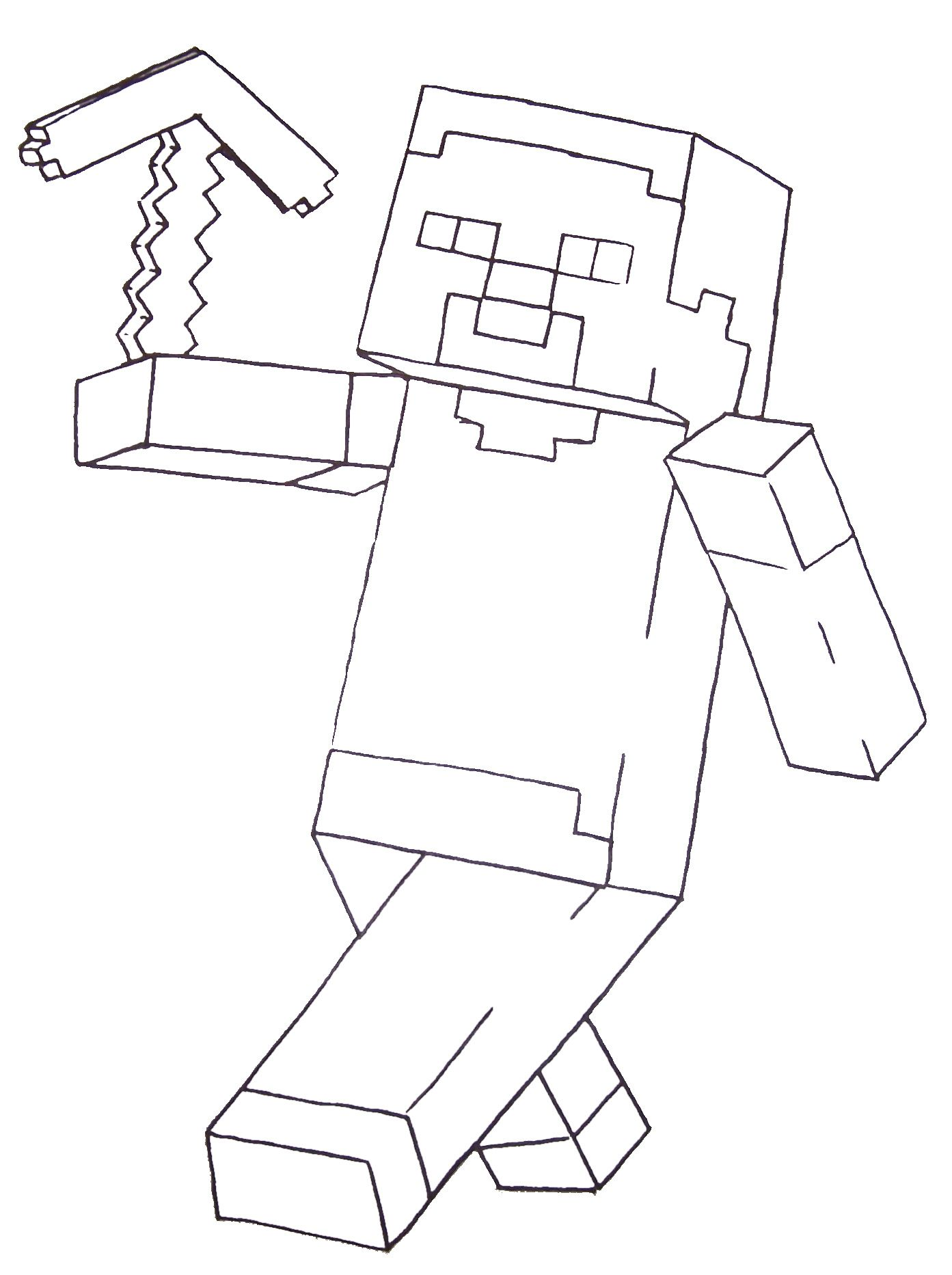 Minecraft Steve Coloring Pages Printable Color sheets