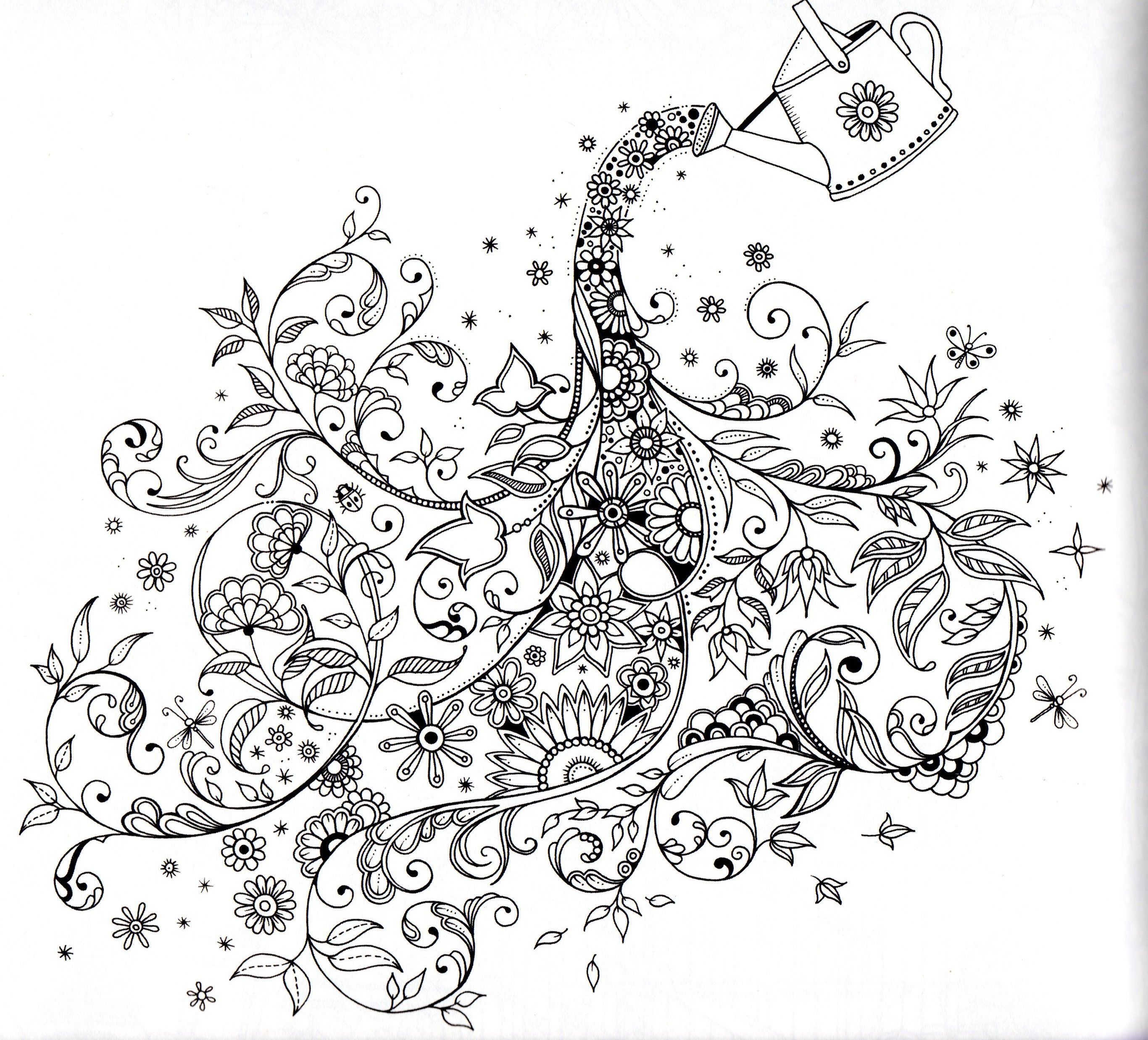 Secret Garden Johanna Basford Watering The Flowers Abstract Doodle Zentangle Coloring Pages