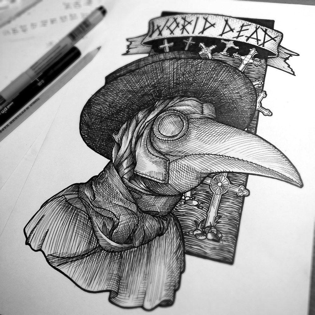plague doctor linework tattoo Tattoo ideas