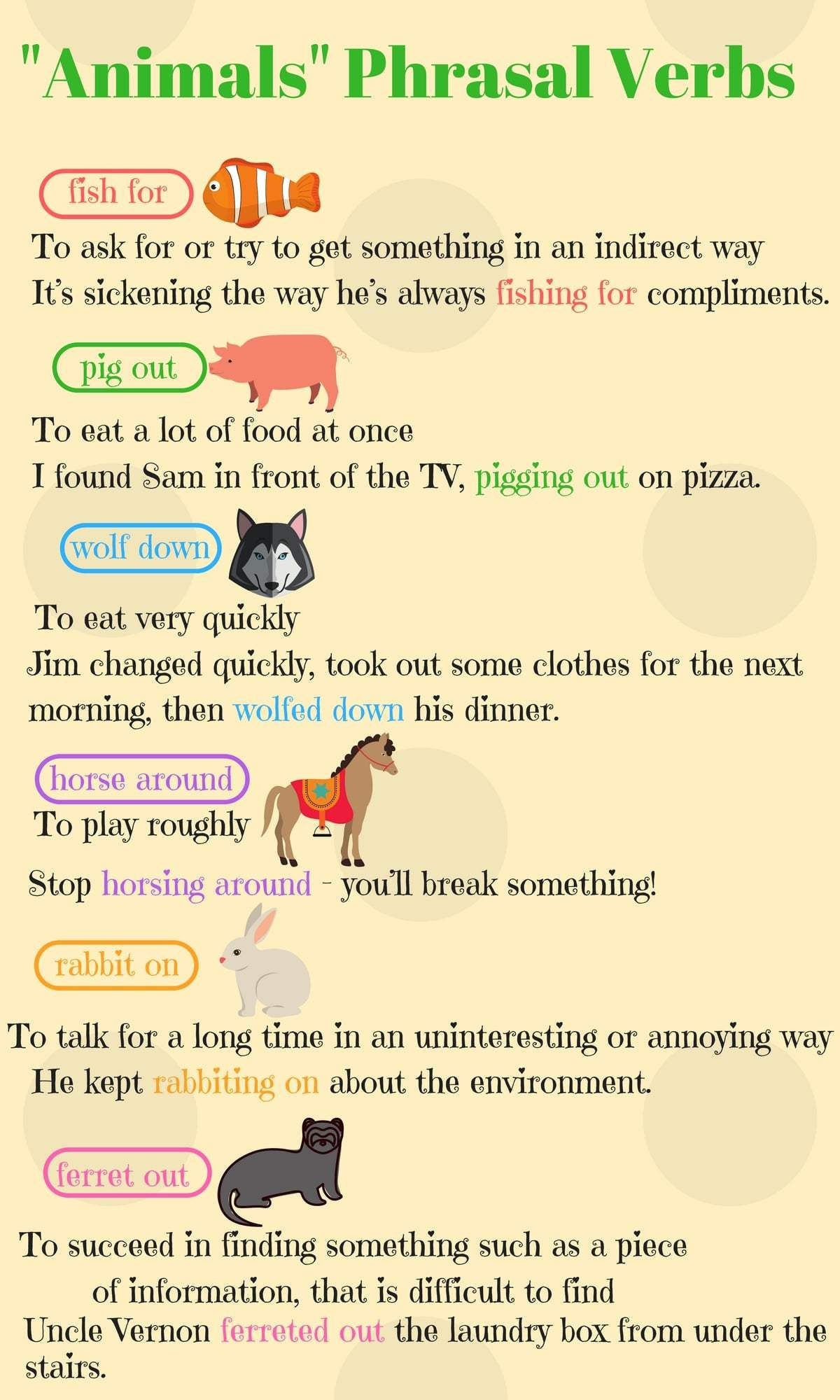 Animals Phrasal Verbs In English With Meanings