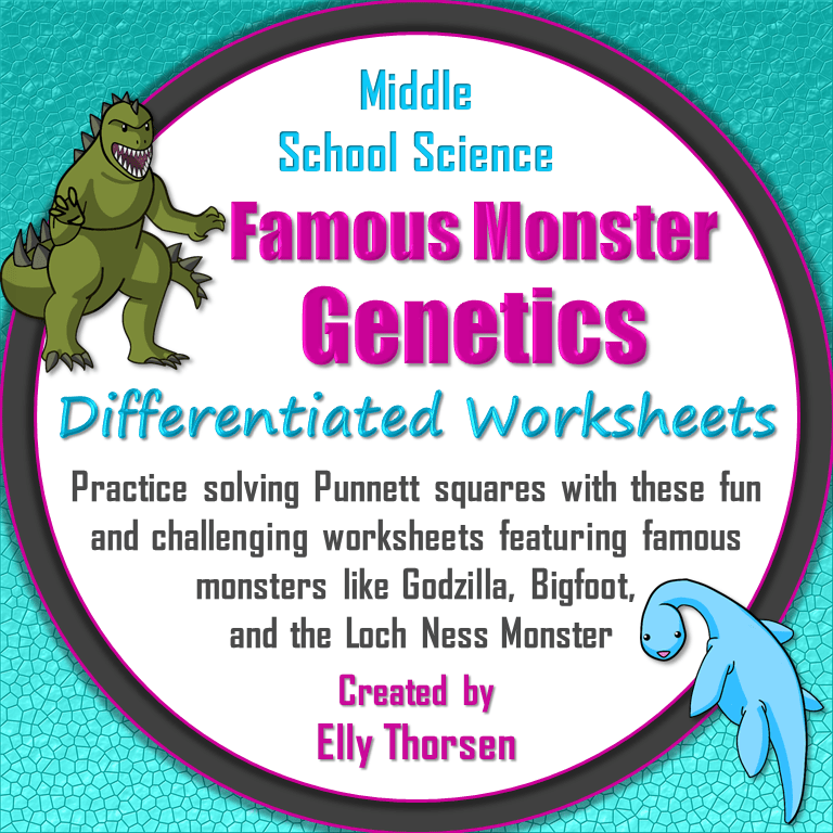 Differentiated Worksheets with Famous Monsters
