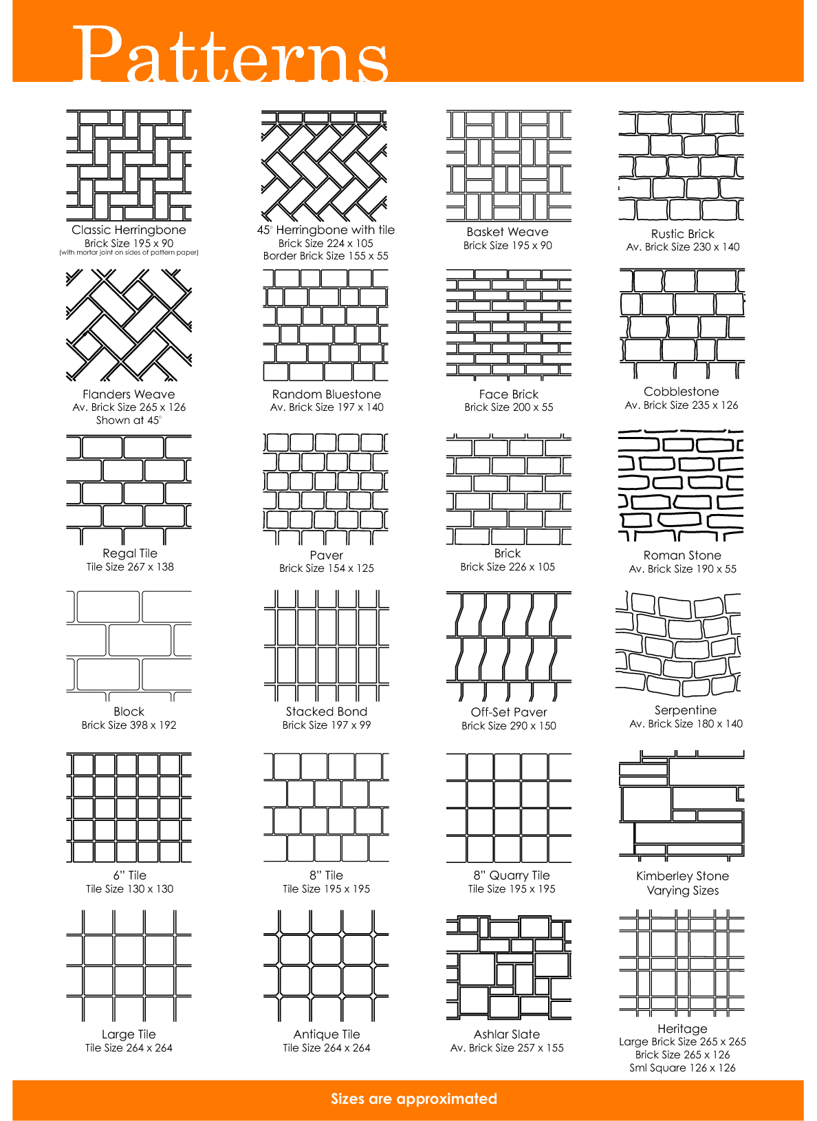 Free Printable Herrinbone Brick Patterns