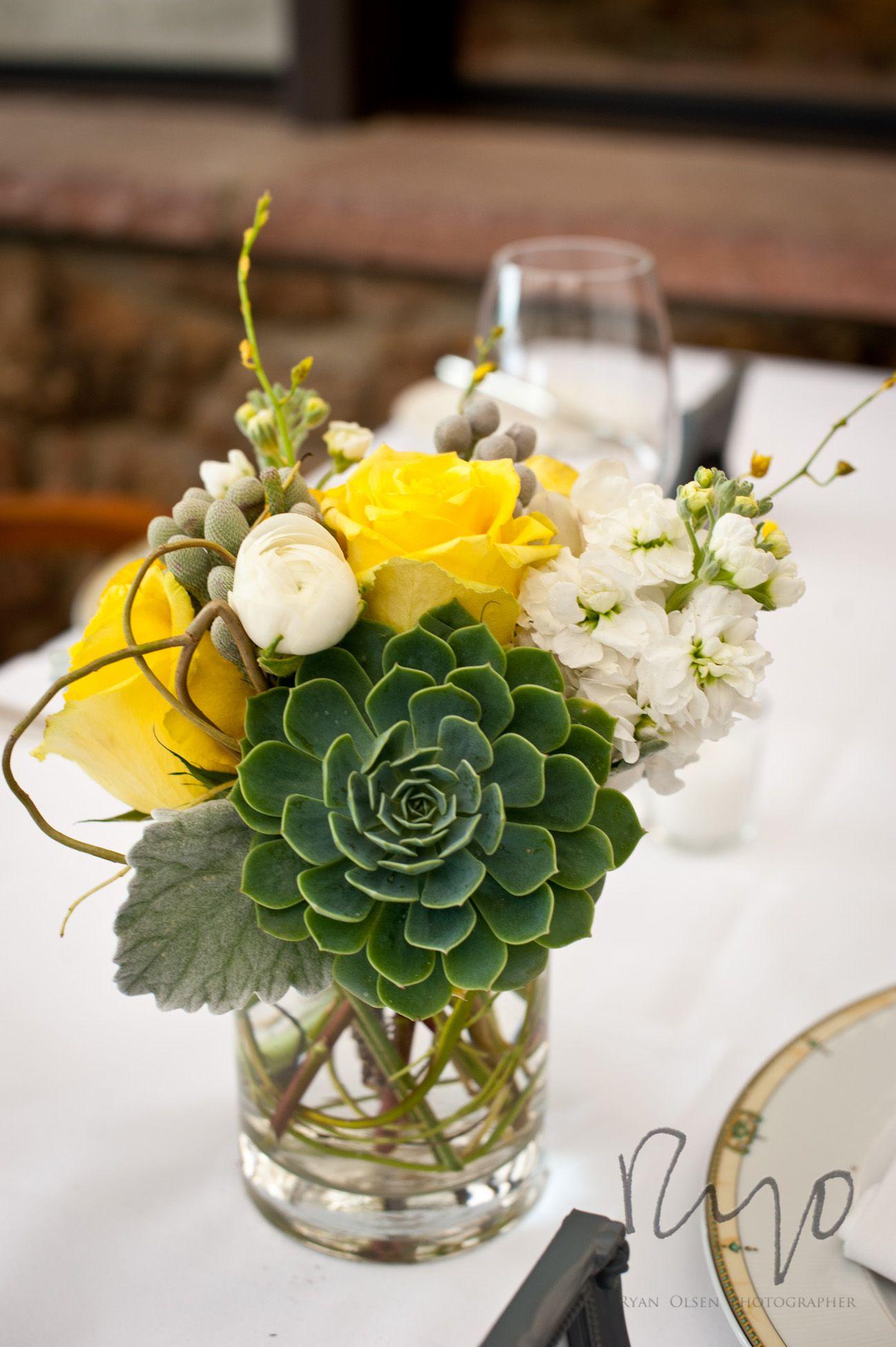 succulent reception wedding flowers, wedding decor