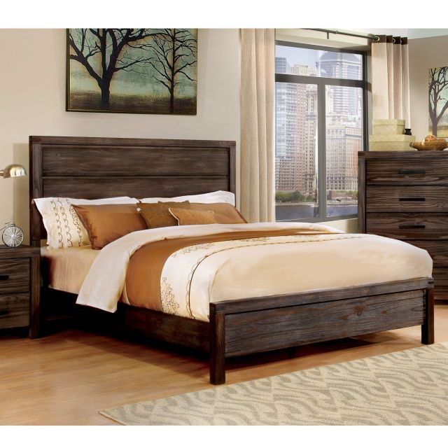 Furniture of America Barrison Industrial Dark Grey Panel Bed by