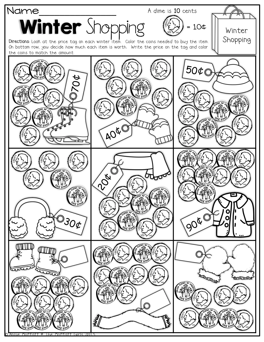Color The Coins Needed To Buy Each Item Fun Way To Practice Counting Coins
