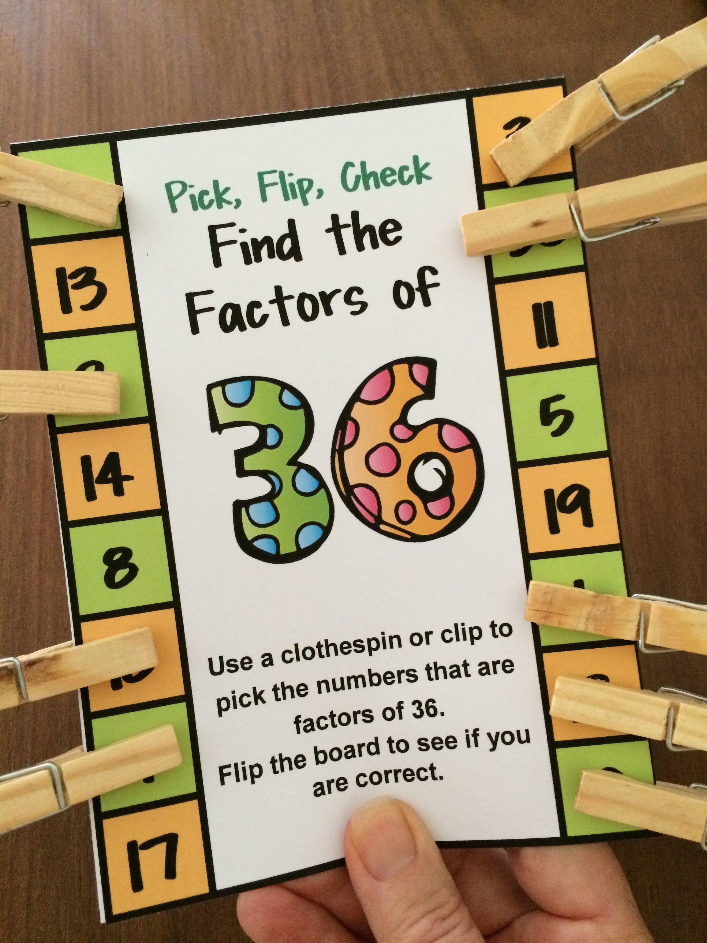 Factors Activity Factors Pick Flip Check Cards