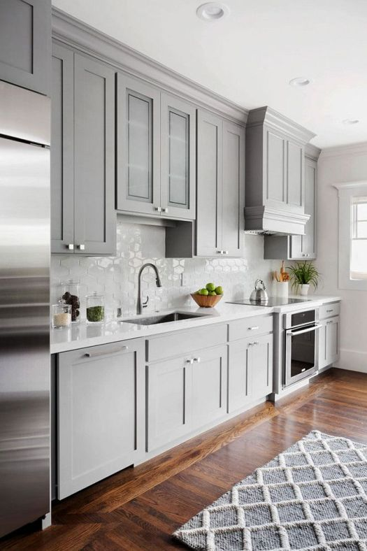 Shaker Style Kitchen Cabinet Painted In Benjamin Moore 1475 Graystone The Walls Are Dove Wing Tile On Backsplash Is From