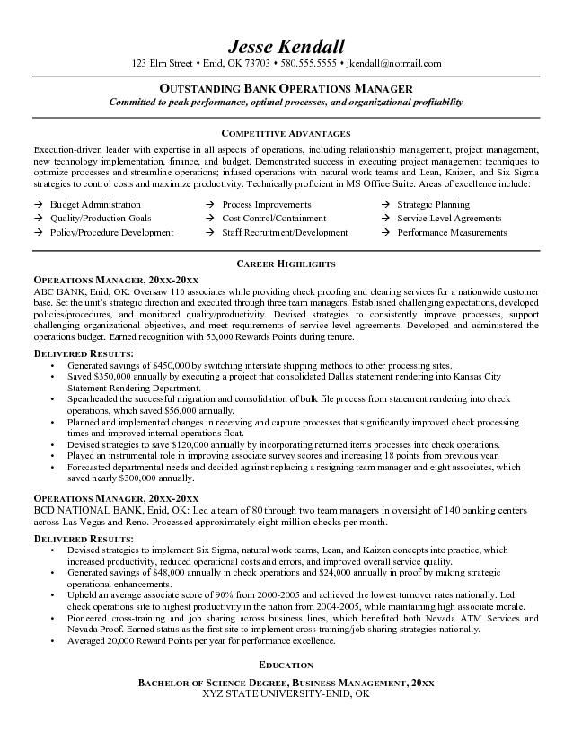 banking executive manager resume template operations manager resume - Payroll Operation Manager Resume