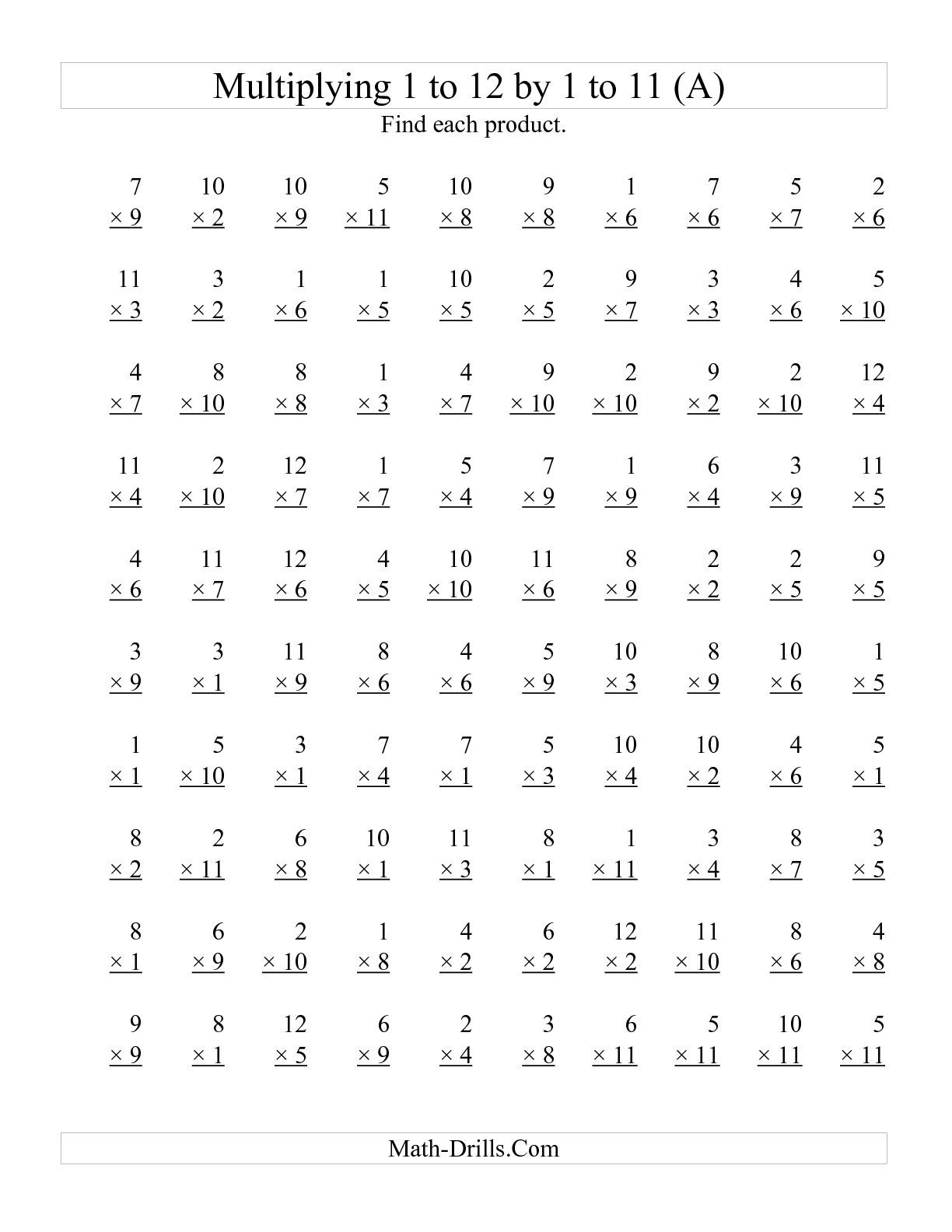 The 100 Vertical Questions Multiplying 1 To 12 By 1 To