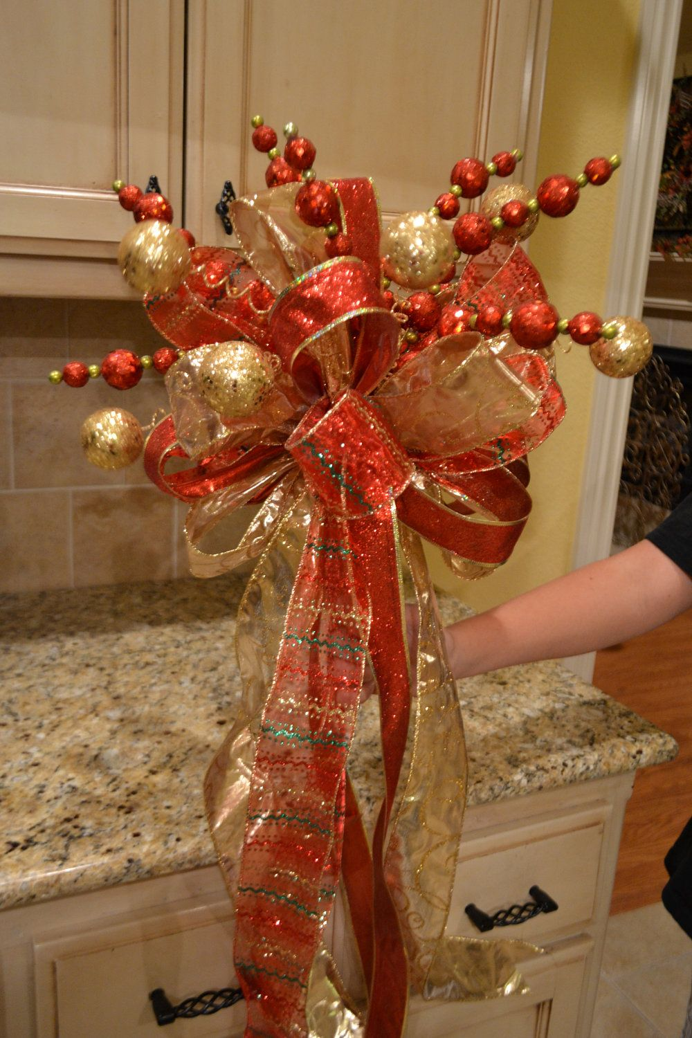 Red And Gold Ribbon Tree Topper Christmas Pinterest