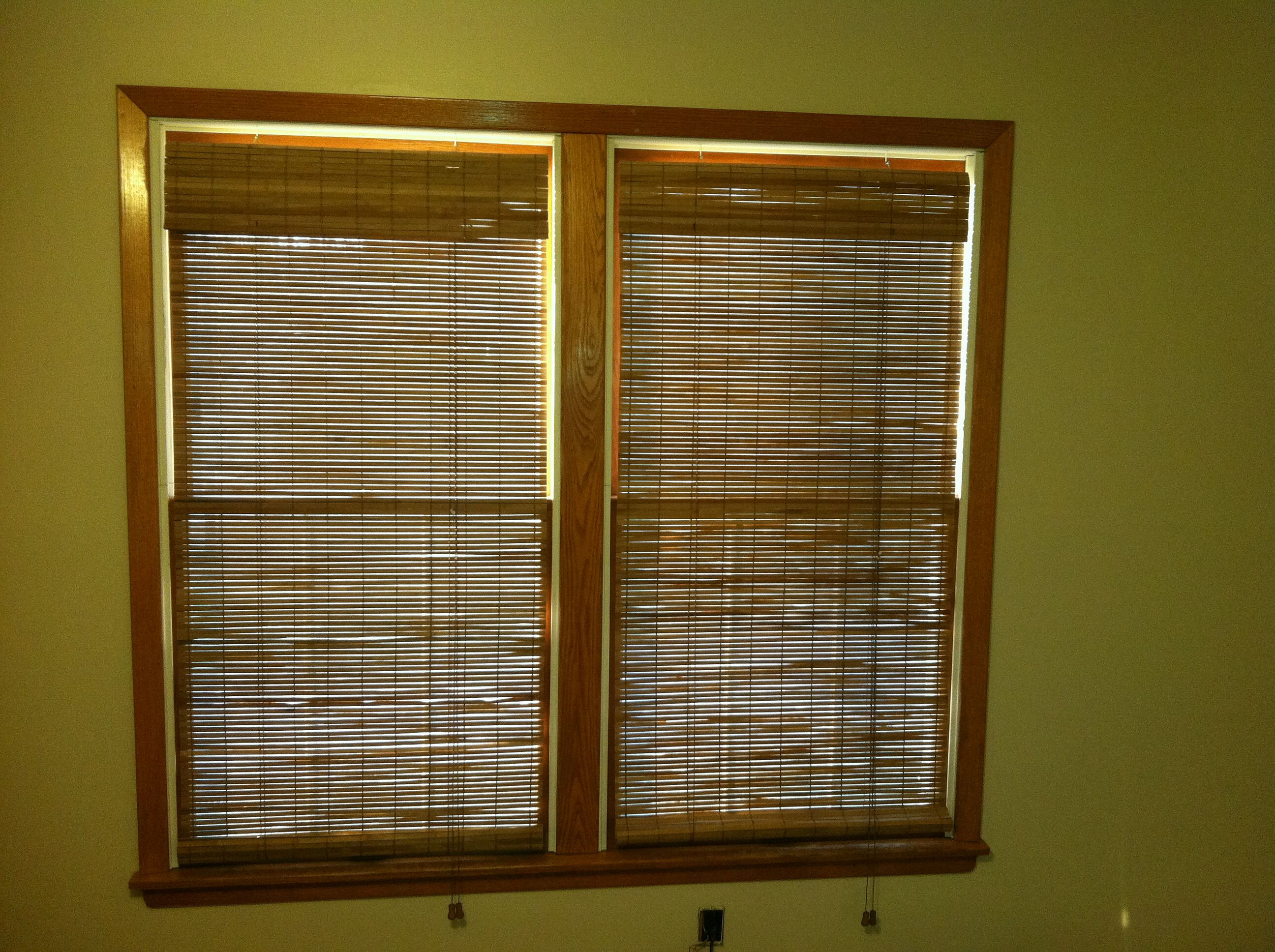 Bamboo blinds from Lowes. Sherwin Williams Kilim Beige