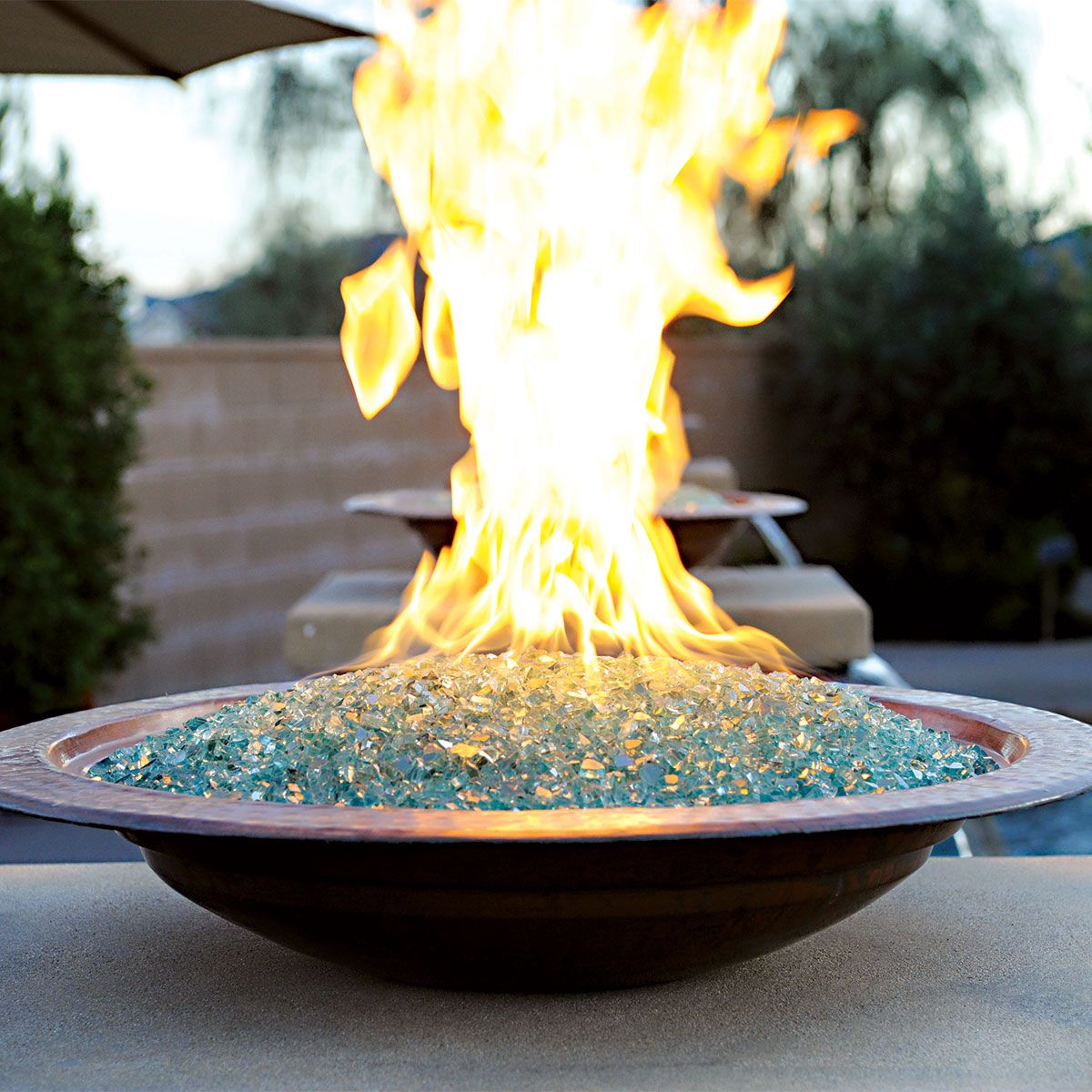 Fire Bowl For Tabletop Or Custom Structure Neutral Glass