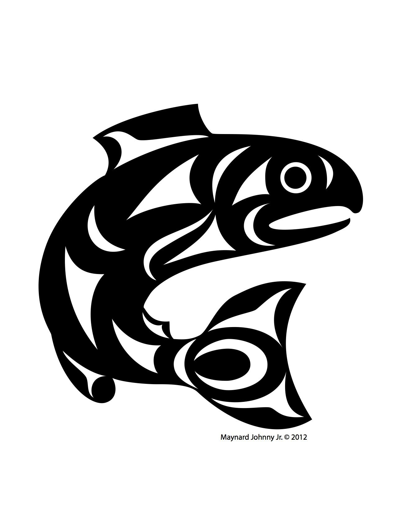 Salmon Drawing Black And White