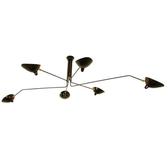 Ceiling Lamp With Six Rotating Arms By Serge Mouille
