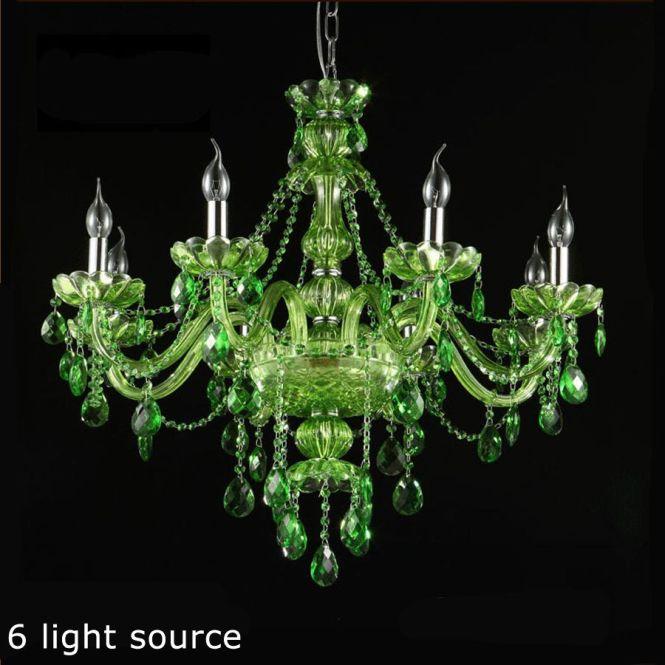 New Green Crystal 6 8 10 Light Chandelier Home Lighting Chandeliers Restaurant Hotel