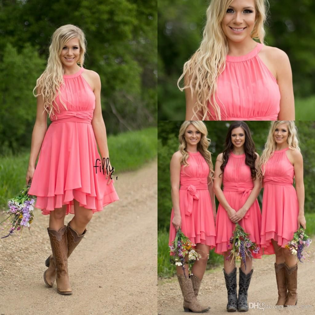2016 Cheap Country Coral Bridesmaid Dresses Jewel Neck