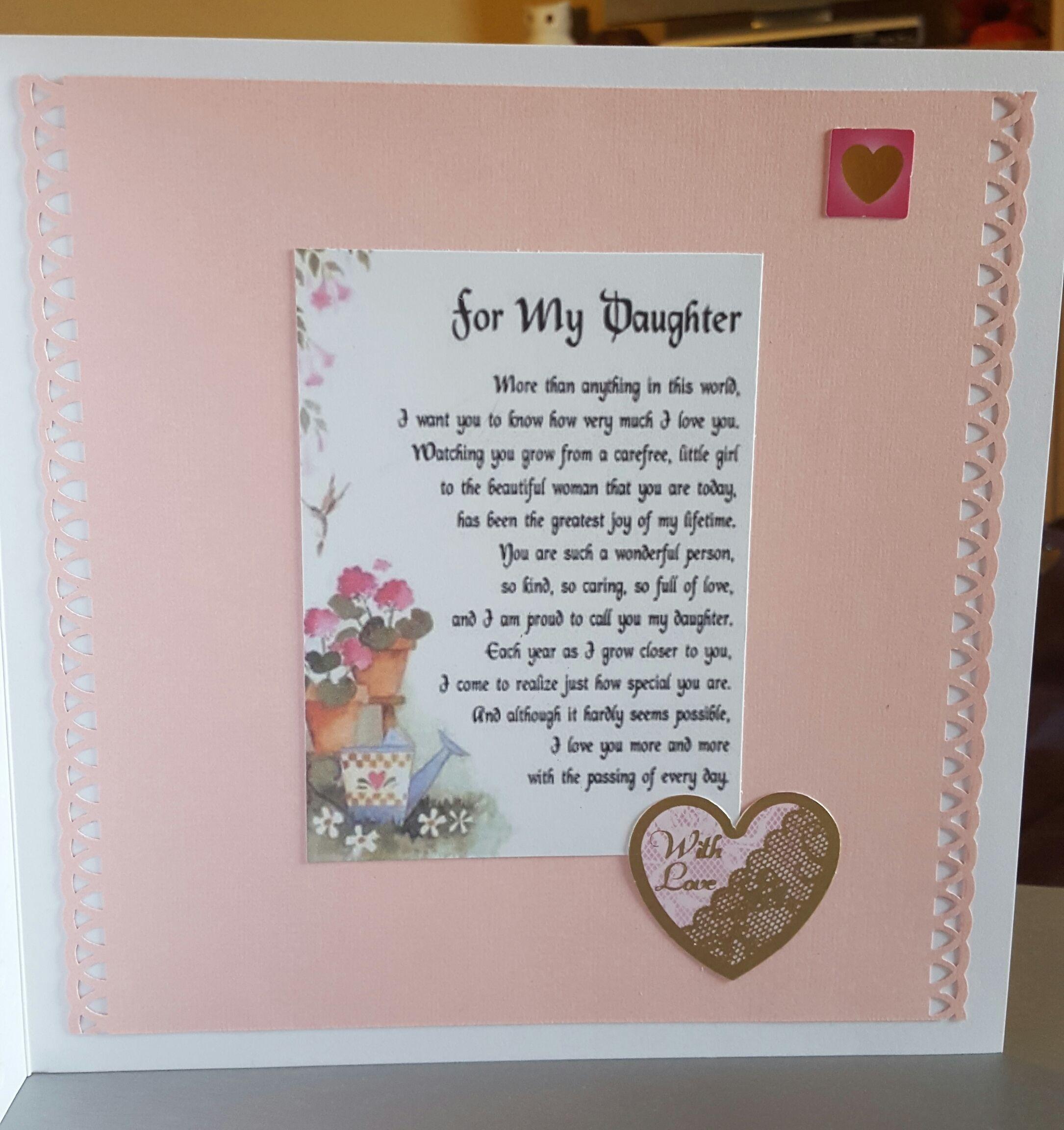Daughter Birthday Card Elegant (Inside with verse