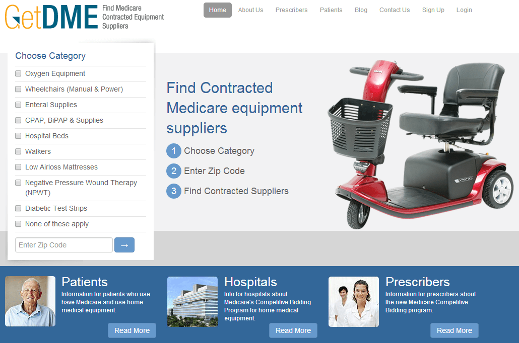 Get DME > Find Contracted Medicare equipment suppliers of