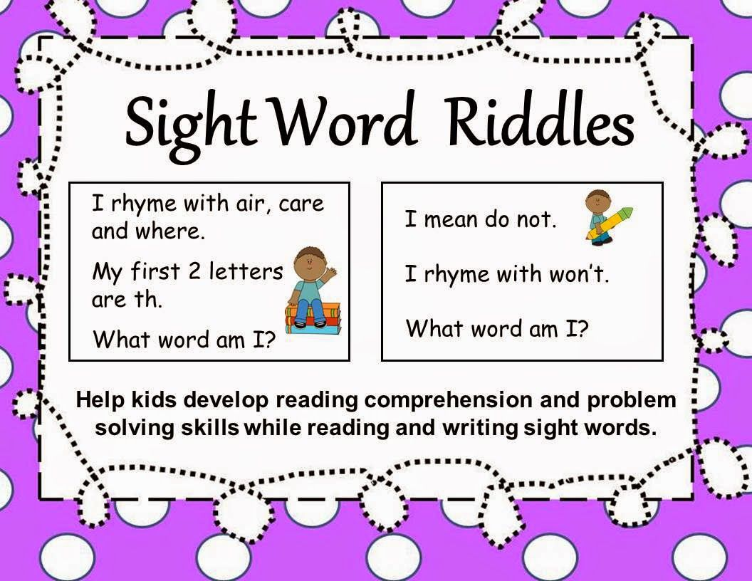 Free Sight Word Riddles for Scoot games, partner work and